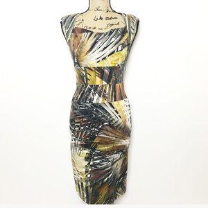 Black Halo Abstract Palm Print Sheath Dress